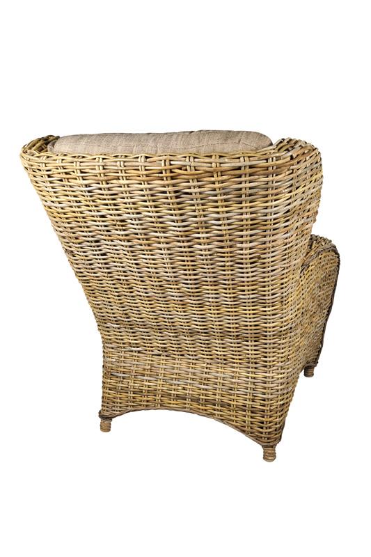 achterzijde fauteuil Orlando rotan kobo grey
