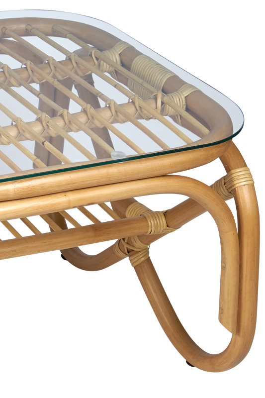 rotan tafel Belse acht retro met glasplaat