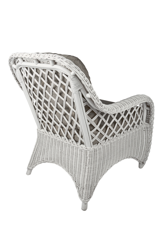 rotan fauteuil Cambell wit achter