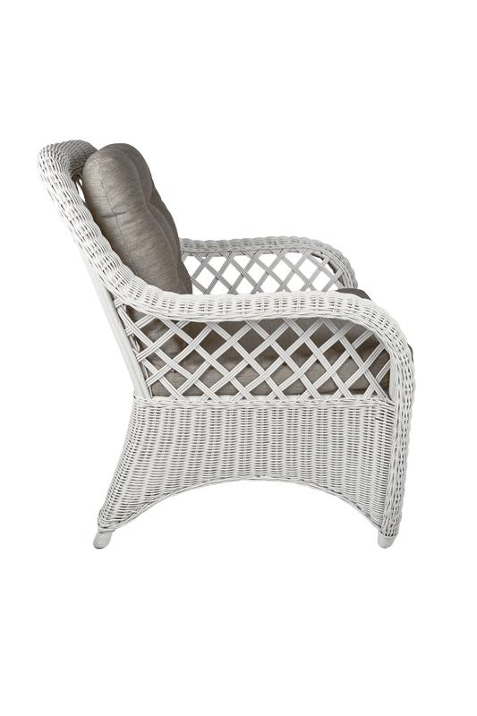 rotan fauteuil Cambell wit zijkant