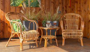 Rieten terrasstoel Roos